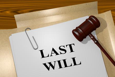 3D illustration of LAST WILL title on legal document 版權商用圖片