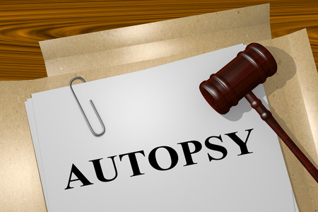 coroner: 3D illustration of AUTOPSY title on legal document
