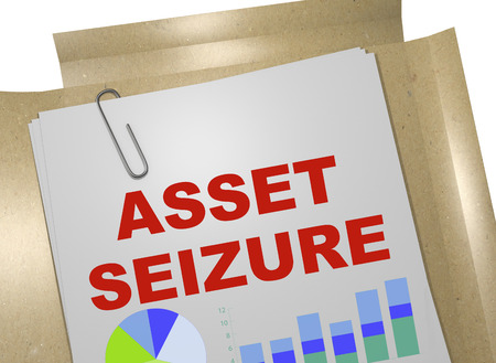 3D illustration of ASSET SEIZURE title on business document