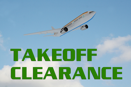 3D illustration of TAKEOFF CLEARANCE title on cloudy sky as a background, under an airplane which is taking off. Stock Photo
