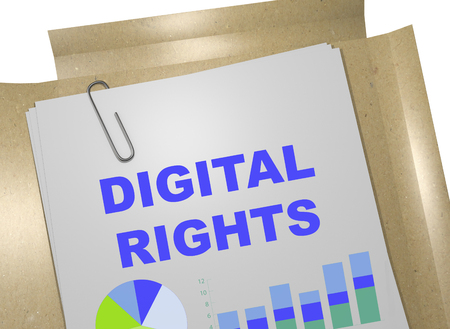 3D illustration of DIGITAL RIGHTS title on business document Stock Photo