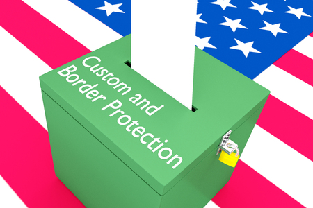3D illustration of Customs and Border Protection script on a ballot box, with US flag as a background.