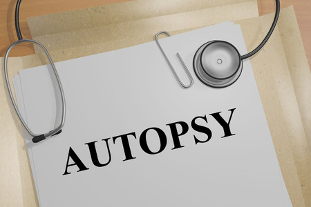 3D illustration of AUTOPSY title on a medical document Stock Photo