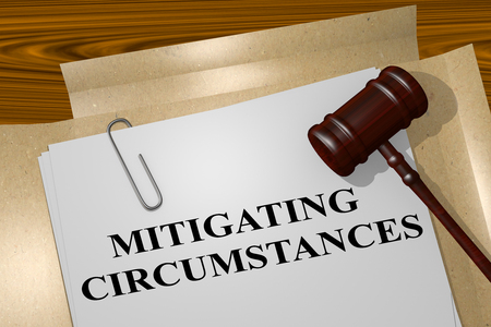 justify: 3D illustration of MITIGATING CIRCUMSTANCES title on legal document