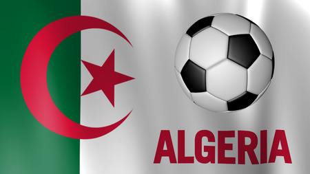 algeria: Flag of Algeria with country name title and ball Stock Photo