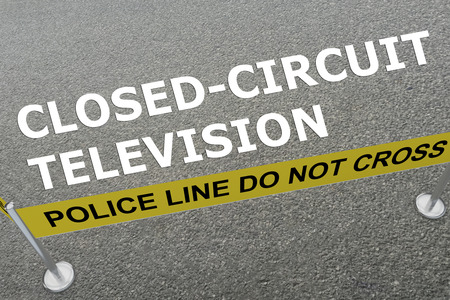 closed circuit television: 3D illustration of CLOSED-CIRCUIT TELEVISION title on the ground in a police arena Stock Photo
