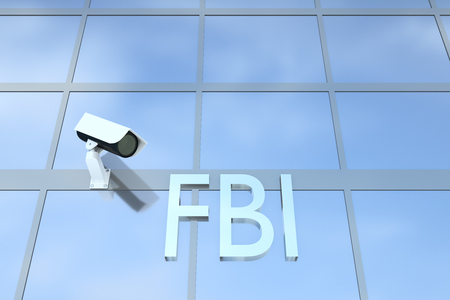 sergeant: 3D illustration of office building with the script FBI under a security camera