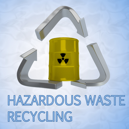 corrosive poison: 3D illustration of HAZARDOUS WASTE RECYCLING title with a barrel in a recycling symbol as a background