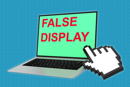 perpetrator: 3D illustration of FALSE DISPLAY script with pointing hand icon pointing at the laptop screen