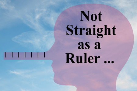 Render illustration of Not Straight as a Ruler title on head silhouette, with cloudy sky as a background.