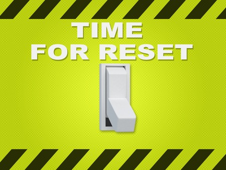 3D illustration of TIME FOR RESET title above an electric switch on green wall