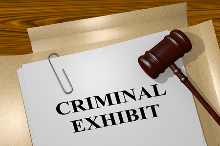 perpetrator: 3D illustration of CRIMINAL EXHIBIT title on legal document