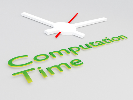 3D illustration of Computation Time title with a clock as a background