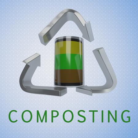 リサイクルシンボルを背景とした堆肥容器を用いた「堆肥化」タイトルの3D イラスト 写真素材