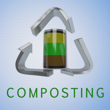 3D illustration of COMPOSTING title with a compost container in a recycling symbol as a background
