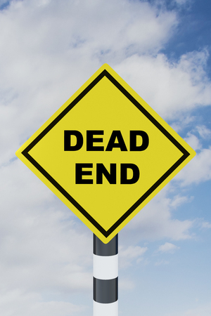 3D illustration of DEAD END script on road sign