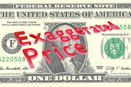3D illustration of Exaggerated Price title on One Dollar bill as a background Stock Photo