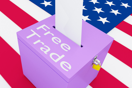 trump: 3D illustration of Free Trade script on a ballot box, with US flag as a background.