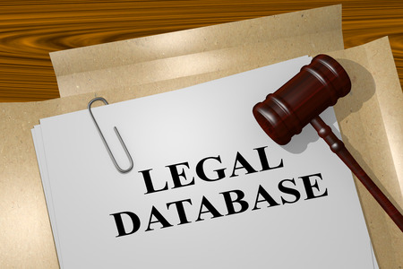"3D illustratie van de titel ""LEGAL DATABASE"" op juridisch document Stockfoto"