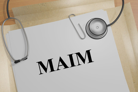 3D illustration of MAIM title on a medical document