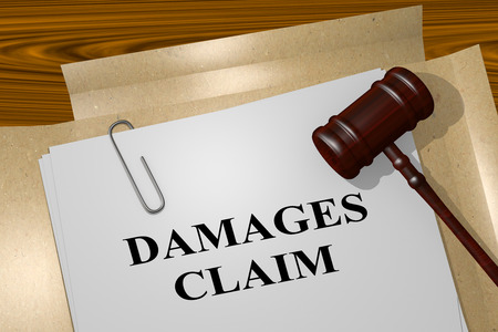 3D illustration of DAMAGES CLAIM title on legal document