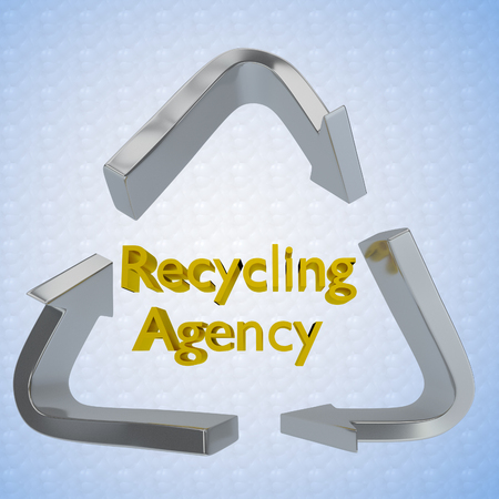 papermaking: 3D illustration of Recycling Agency title encircled by a recycling symbol as a background Stock Photo