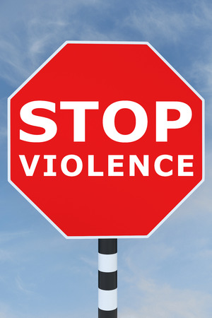 warning against a white background: 3D illustration of STOP VIOLENCE title on road sign Stock Photo