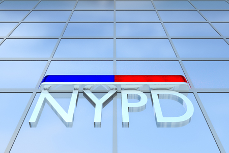 3D illustration of office building with the script NYPD under a police light bar