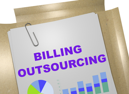 3D illustration of BILLING OUTSOURCING title on business document