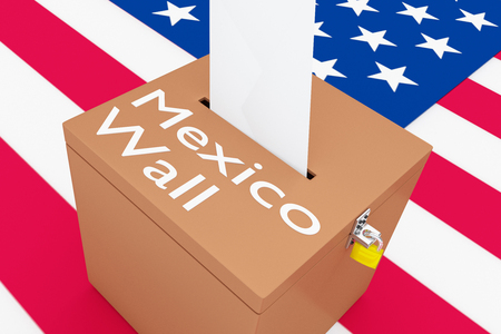 mexican ethnicity: 3D illustration of Mexico Wall script on a ballot box, with US flag as a background. Stock Photo