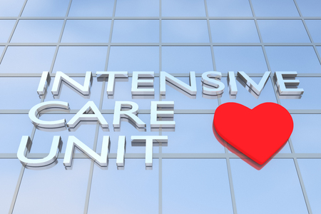 3D illustration of a building with the script INTENSIVE CARE UNIT along with heart icon