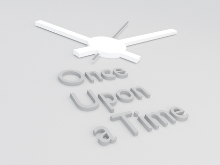 3D illustration of Once Upon a Time title with a clock as a background