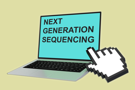 paternity: 3D illustration of NEXT GENERATION SEQUENCING script with pointing hand icon pointing at the laptop screen