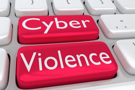 """3D-Darstellung der Computertastatur mit dem Druck """"Cyber ??Violence"""" auf zwei benachbarten roten Tasten Standard-Bild - 85655389"""