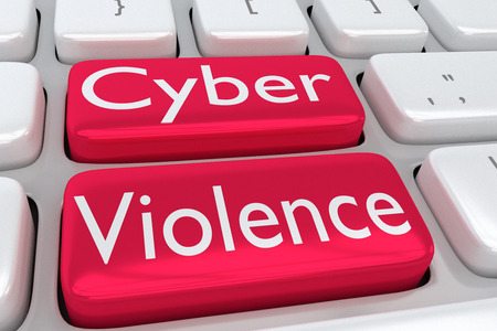 """3D illustratie van computertoetsenbord met de druk """"Cybergeweld"""" op twee aangrenzende rode knopen"""