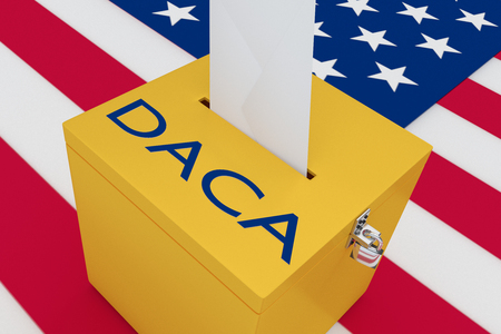 3D illustration of DACA script on a ballot box, with US flag as a background.