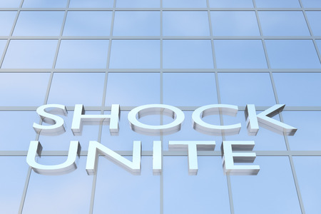 nerve signals: 3D illustration of office building with the script SHOCK UNIT Stock Photo