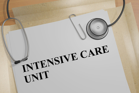 3D illustration of INTENSIVE CARE UNIT title on a medical document