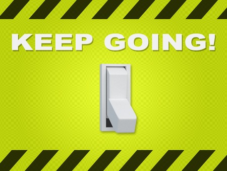 3D illustration of KEEP GOING! title above an electric switch on green wall