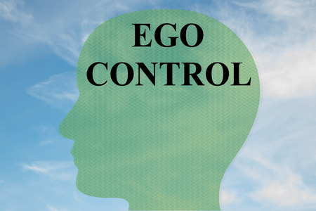 Render illustration of EGO CONTROL title on head silhouette, with cloudy sky as a background.