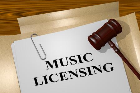 法的文書にタイトルを「音楽のライセンス」の 3 D イラストレーション