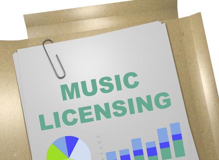 ビジネス文書のタイトルを「音楽のライセンス」の 3 D イラストレーション