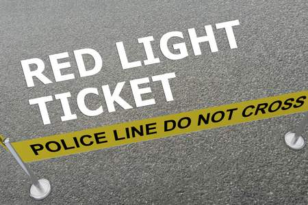 3D illustration of RED LIGHT TICKET title on the ground in a police arena