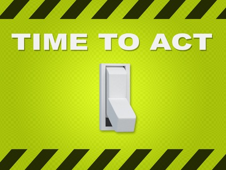 """3D illustratie van """"TIJD OM TE ACT"""" titel boven een elektrische schakelaar op blauwe muur Stockfoto"""