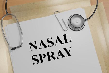 flu virus: 3D illustration of NASAL SPRAY title on a medical document