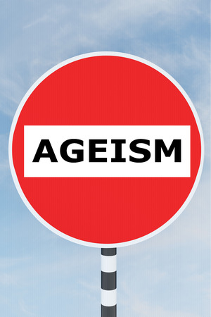 rejection: 3D illustration of AGEISM title on No Entry road sign Stock Photo