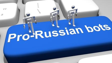 3D Render illustration of bots on Pro Russian Bots key