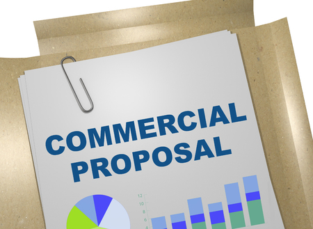 potential: 3D illustration of COMMERCIAL PROPOSAL title on business document Stock Photo