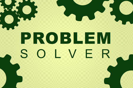 PROBLEM SOLVER sign concept illustration with green gear wheel figures on pale green background