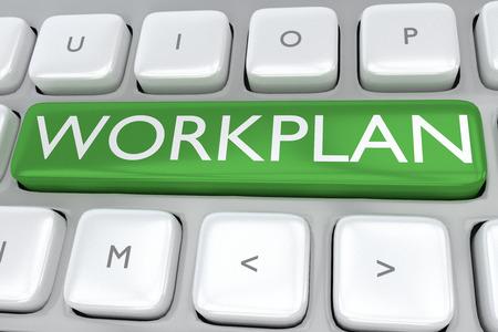 """Ilustración 3D del teclado de la computadora con la impresión """"WORKPLAN"""" en un botón verde"""